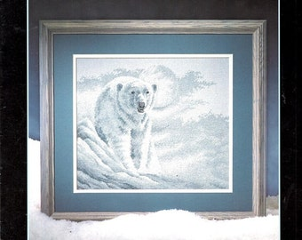 White Night Full Grown Polar Bear White Moon Icy White Snow Scene Black Nose Counted Cross Stitch Embroidery Craft Pattern Leaflet 291