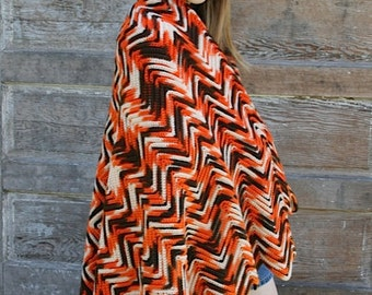 Orange and Brown Campfire blanket, Hand made vintage Afgan