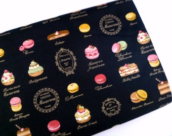 Retro fabric, Lolita fabric, Quilt fabric, Macarons fabric, Cotton fabric, Japanese fabric, French cakes, Black fabric, 1/2 yard FB135