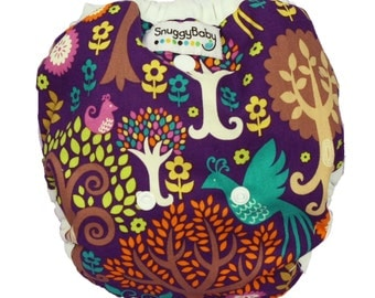Baby Girl All In Two Cloth Diaper Cover - Fantasy Forest - PATENT PENDING One Size Design - Use With Our AI2 Inserts, or Prefolds or Fitteds
