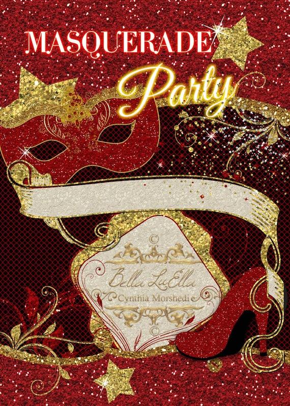 masquerade invitation blank downloadable