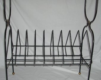Mid Century Wire Metal Stereo Table Shelf and Rack with Sunburst Starburst