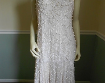 Beaded and Lace Gown Dress / Wedding Dress / Pink Party Dress  SALE