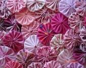 40 Pink Mix Assortment Fabric Yo Yo Applique Quilt Suffolk Puff Handmade