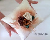 Ring Pillow.Embossed Cotton Pillow w Satin Ribbon Roses,Turkey Feather & Tassels (Cream, Pink, Purple, Black, Blue, Brown, Green) Love Story