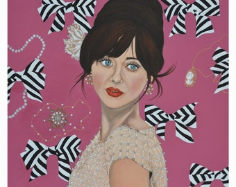 """12"""" x 12"""" - Zooey Deschanel inspired print signed by the artist"""