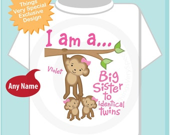 Personalized I am a Big Sister to Identical Twins T Shirt or Onesie, Big Sister Monkey with twin girl babies (04032014b)