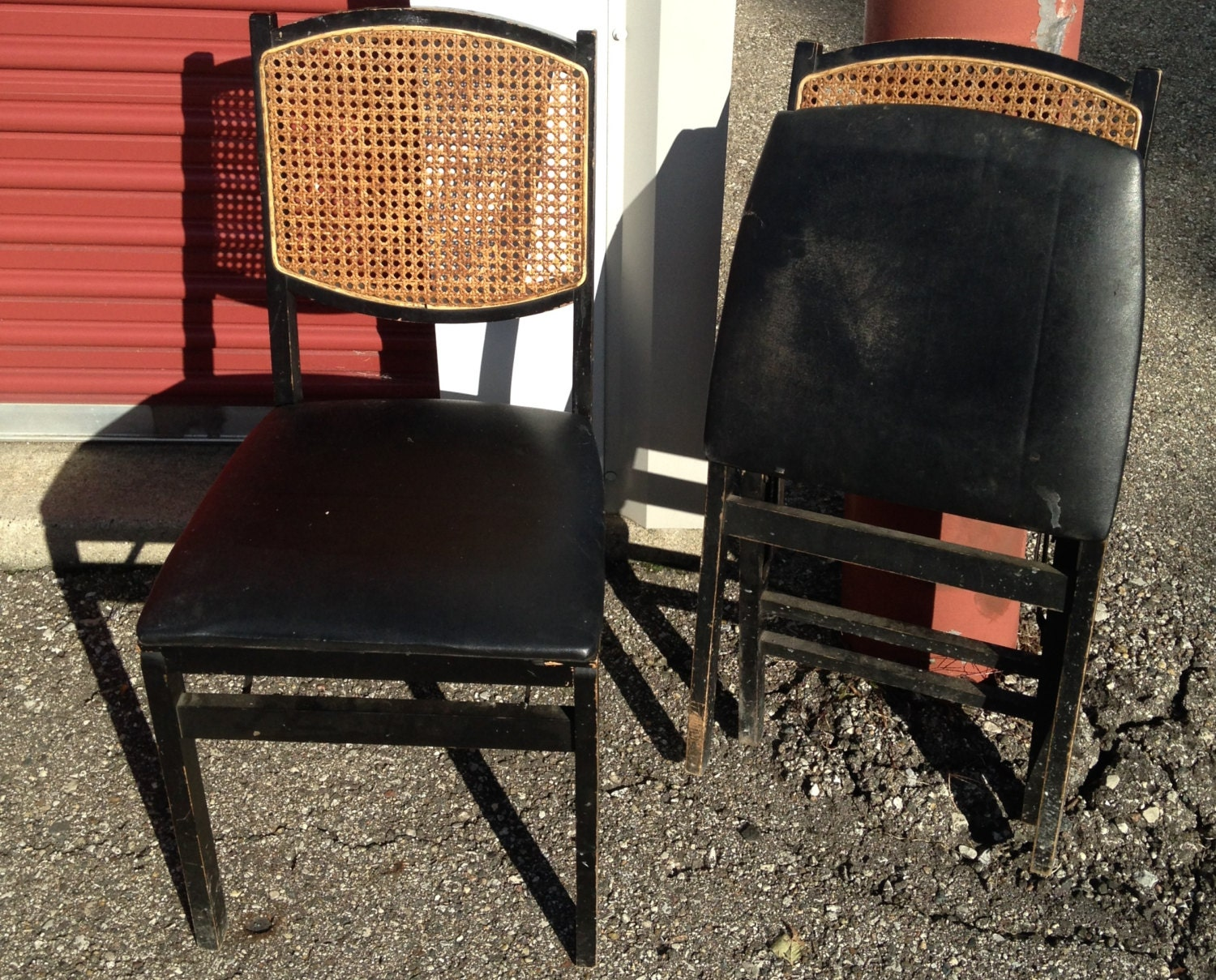 Vintage Black Wooden And Wicker Folding Chairs By