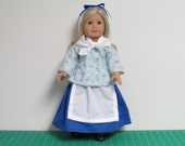 Light Blue Colonial Shortgown 7 Piece Set for American Girl Dolls