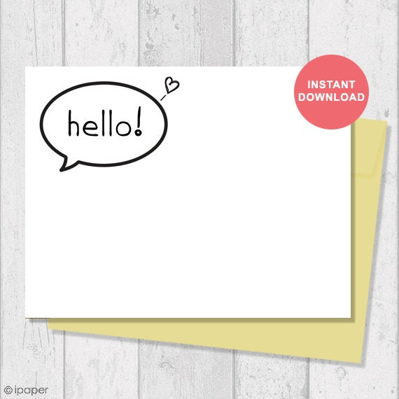 Printable Card Instant Download Digital Template Note