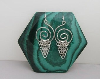 Spiral and Chainmaille Earrings in Fine Silver and Argentium Silver