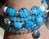 Layered Stretch Bracelet Cluster Multiple Set of 4 Sea Glass Czech Glass Chinese Crystals Beach Shell Charm Dangle Summery Beach Jewelry