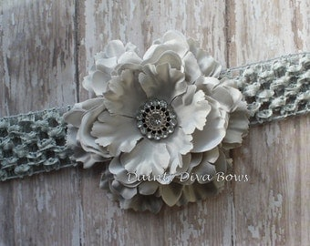 Baby Headband, Gray Ruffled Peony Flower Headband, Crochet Headband, Newborn Headband, Toddler Headband, Girls Headband, Photo Prop