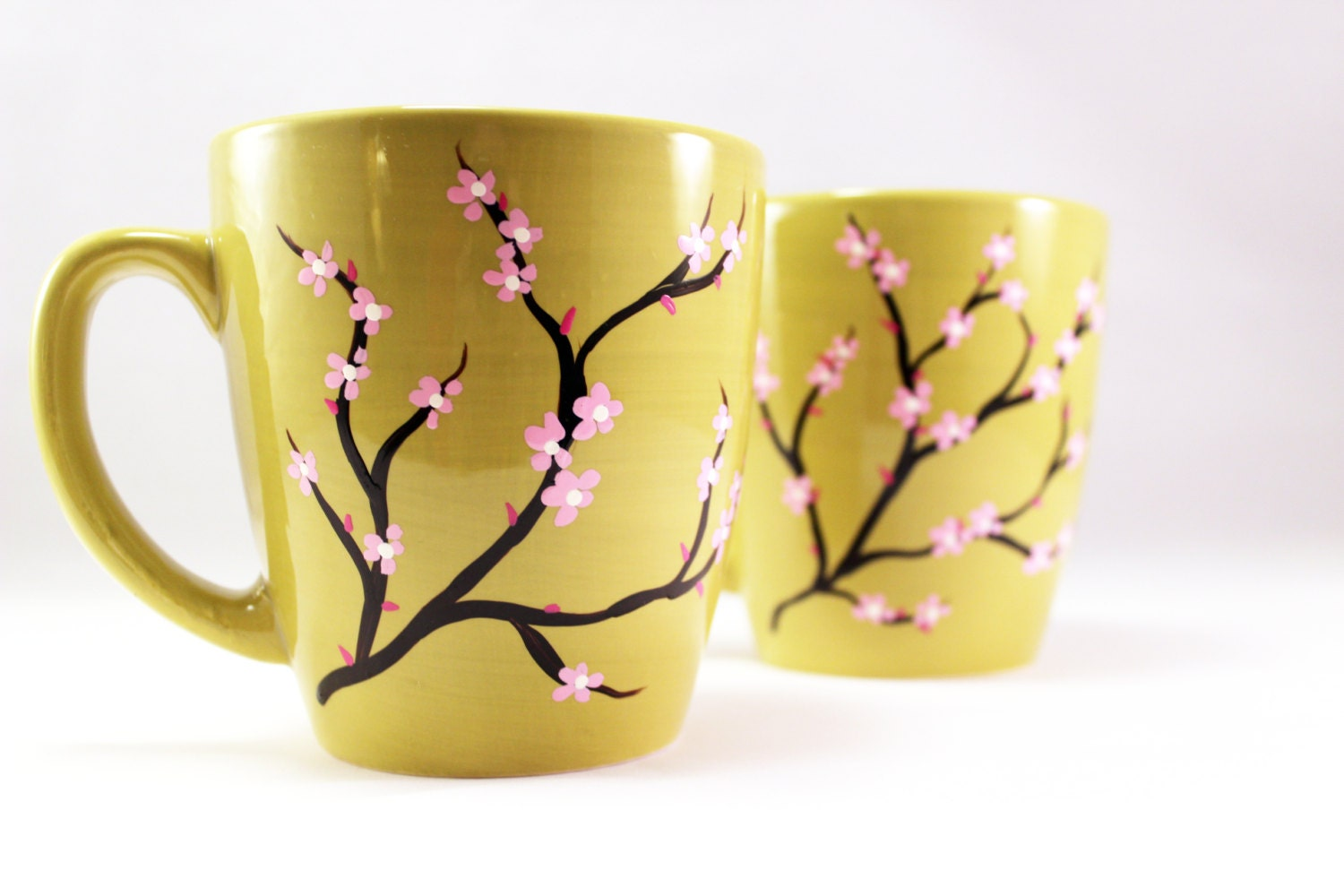 painted coffee mugs hand painted mug with cherry by raesmith