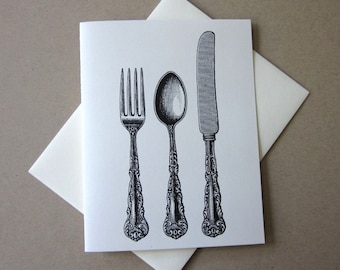 Cutlery Knife Spoon Fork Silverware Note Cards Set of 10 with Matching Envelopes