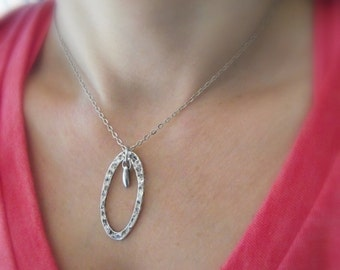 Textured Oval Pendant with a Drop of Silver, Silver Necklace, Glass Drop Pendant