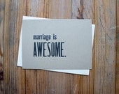 Marriage is Awesome - 4bar letterpress card