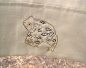 American Toad Pillowcase- hand stitched