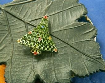 Vintage 1960 Wavy Ribbon Christmas Tree Brooch with Multicolored Rhinestones: Oh Christmas Tree