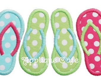 615 Flip Flop Trio Machine Embroidery Applique Design