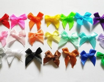 100 pcs -  Cute Satin BOW Ribbon Applique Embellishment Decoration - size 20 x 25mm - assorted color
