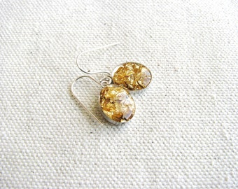 Gold Foil Earrings Resin Sterling Silver Mixed Metals Minimalist Naturalist Elements Bridal Modern Simple Design Delicate
