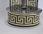 ribbon greek key Greek Key Jacquard  Ribbon  Trim  10 continuous meters Black and gold   35mm