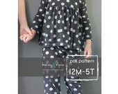 All you Need Jammies pajamas pattern and tutorial 12M-5T leggings tee shirt nightgown  PDF