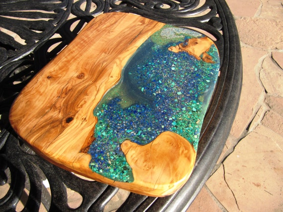 Olive Wood Cutting Board Bread Board Lapis Chrysocolla And