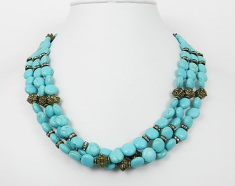 Layered Turquoise Necklace Multi Strand Turquoise Choker Necklace Under 50 Dollars Gift for Mom