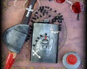 Vampire Zombie Van Helsing kit- wooden blood stick with clip on holster , 8Oz stainless steel flask, goggles-glasses, necklace with gift box