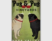 CUSTOM Personalized Pug & Pug Wine Vineyards Cellars Sign  Gallery Wrapped Canvas Wall Art -  Ready-to-Hang