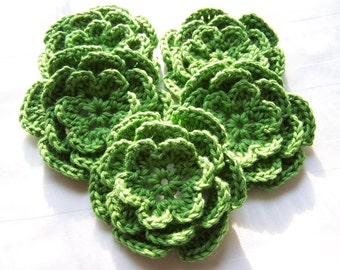 Crocheted flower 3 inch cotton peapod green set of 5