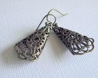 Victorian Teardrop Earrings Antiqued Gold