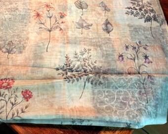 5 yards plus Sheer Fabric Vintage Home Decor Garden Print