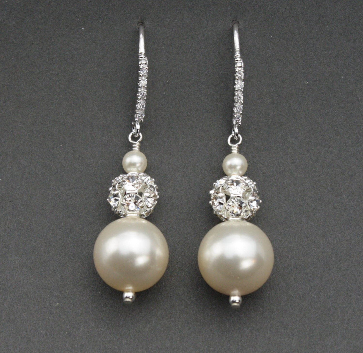 pearl bridal earrings rhinestone and pearl vintage style