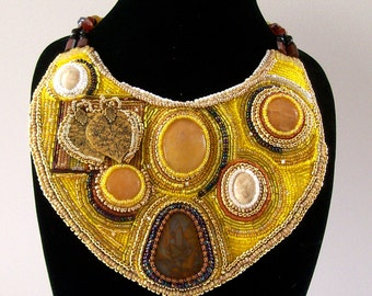 """Necklace - Beadwork - Statement Necklace - Bib Necklace - Bead Embroidery - Yellow Necklace - """"Not So Yellow"""""""