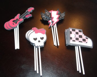 Rock Star Party Cupcake Toppers - Birthday Decorations, Party Supplies, Cake Decorations