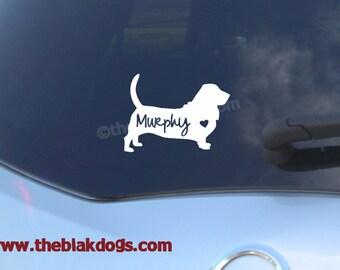 Basset Hound Dog Silhouette Vinyl Sticker Car Decal Personalized
