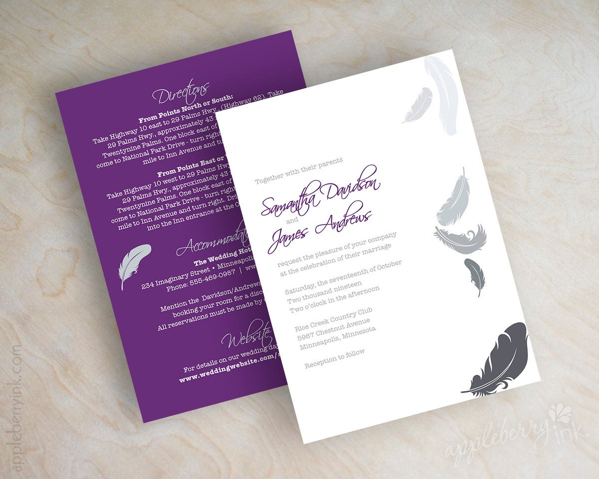 Cardstock Paper For Wedding Invitations: Feather Wedding Invitation, Shimmer Cardstock, Shimmer