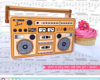 Boom Box - ORANGE, cupcake box, party favor box, 40th Birthday, 30th Birthday   Instant download DIY Printable PDF Kit