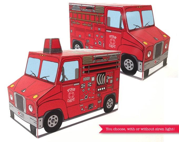 Firetruck Birthday Party Box - for Fireman Sam, birthday, shower, cupcake box, gift card box - INSTANT Download DIY Printable PDF Kit
