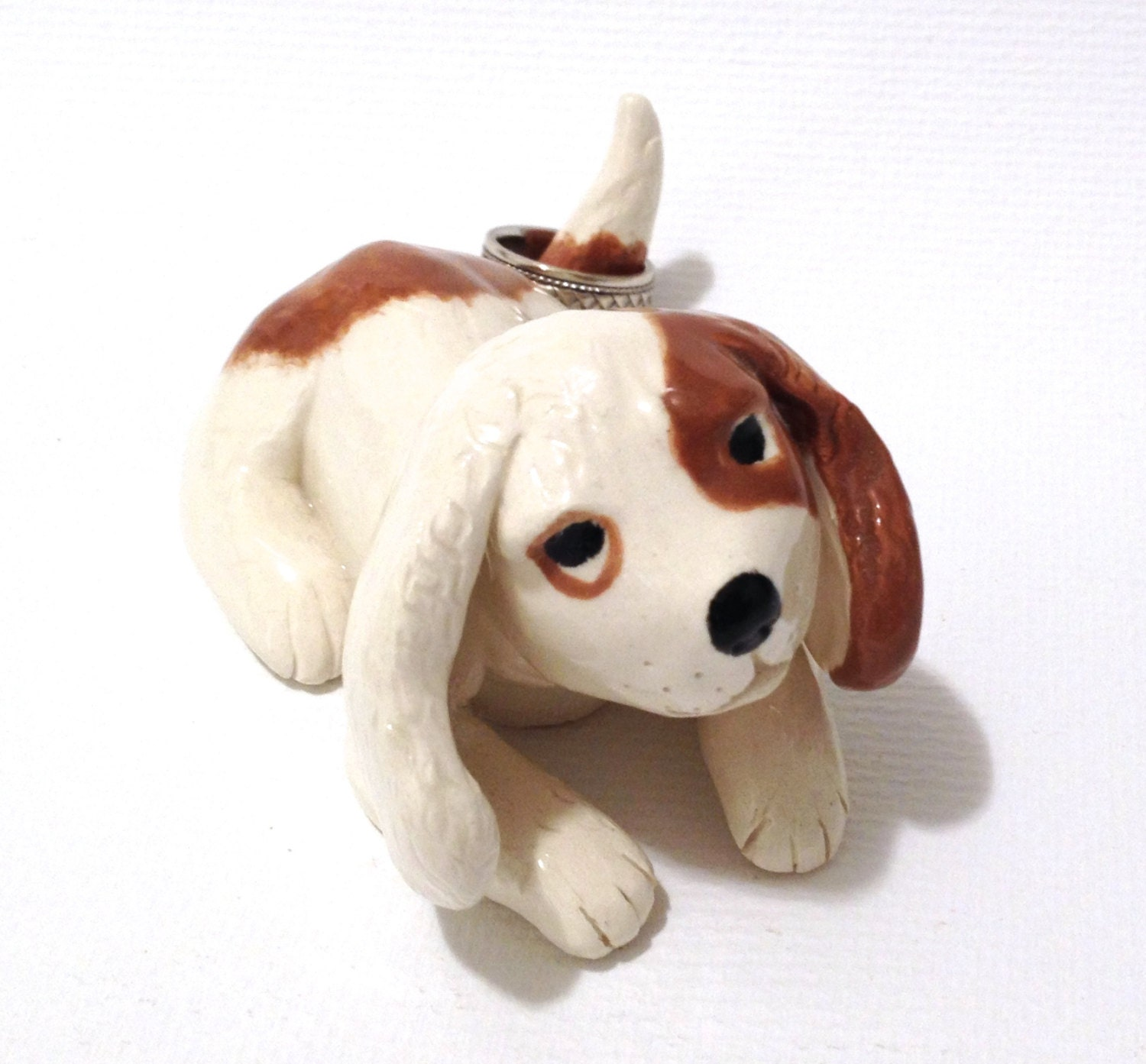 Puppy ring holder ceramic dog sculpture by cindihale on etsy