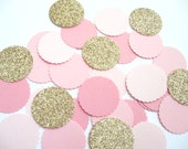 Pink Ombre and Gold Champagne Glitter Confett -100 pieces -Parties/Showers/Weddings/Wall Art/DIY Garland/Baby Nursery Deco - Pink Confetti