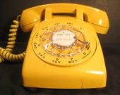Retro Harvest Gold Yellow Vintage Rotary Dial Desk Telephone Phone, 1970s, TheRetroLife