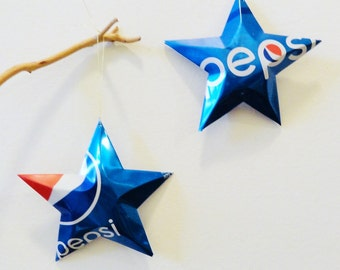 Pepsi Stars new Can Bright Blue Christmas Ornaments Soda Can Upcycled Repurposed Pepsi-cola