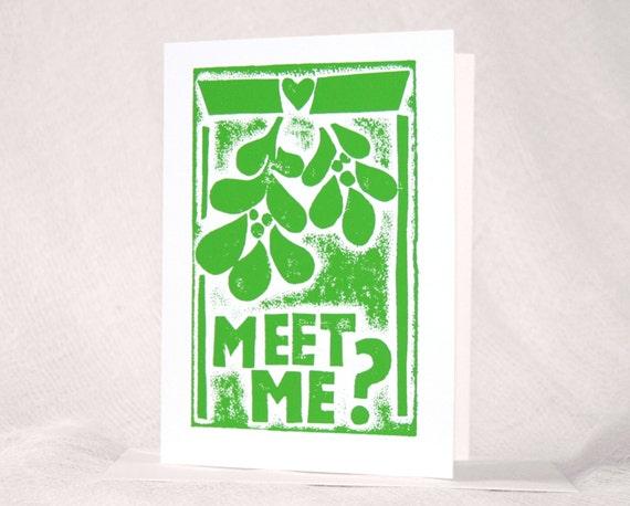 Christmas Card, Mistletoe, Romantic Holiday Card