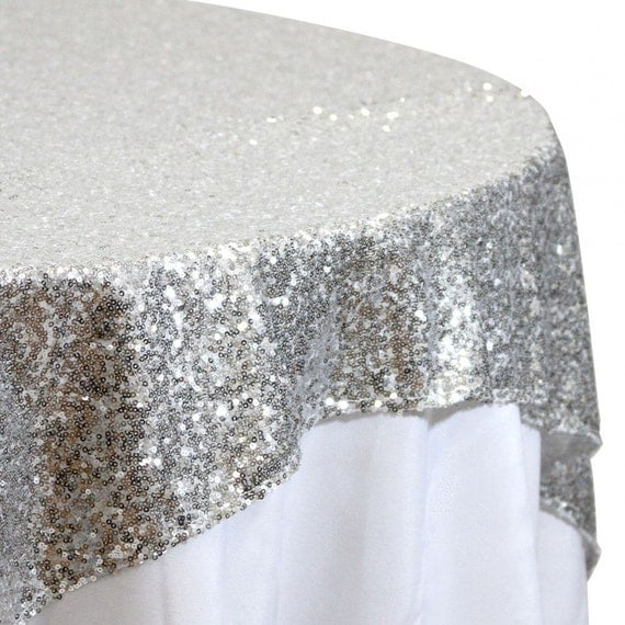 72x72 Sequin Silver Glitz Tablecloth Overlay by ...