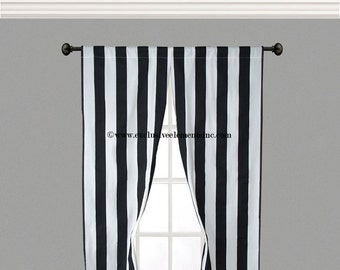 stripe black and white curtain panels black and white