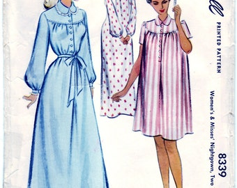 Vintage 1950 McCall 8339 Sewing Pattern Misses' Nightgown, Two Lengths Size 12-14 (Small) Bust 30-32